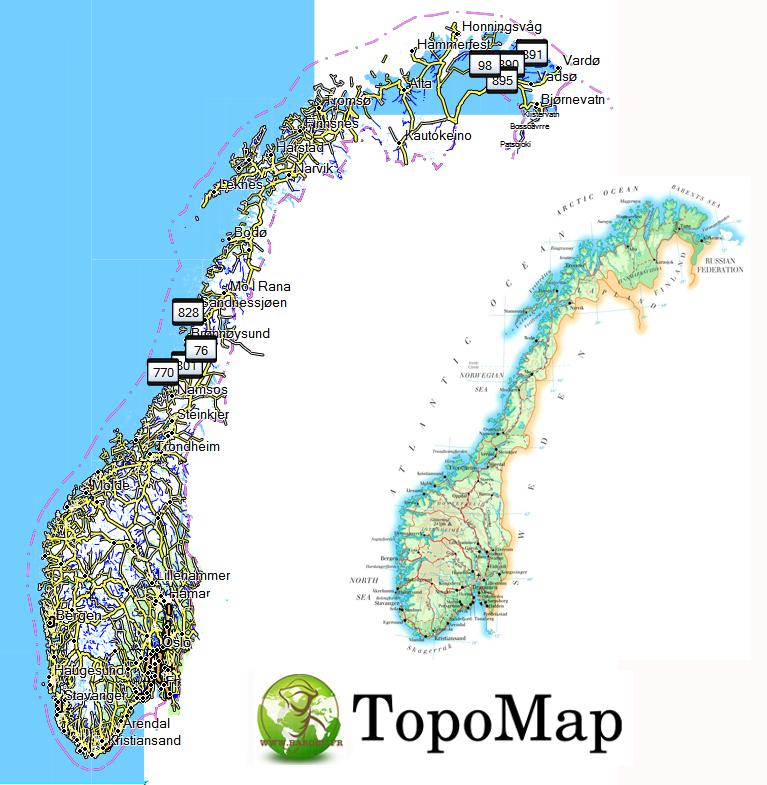 CARTE TOPO MAP GARMIN NORVEGE NORWAY