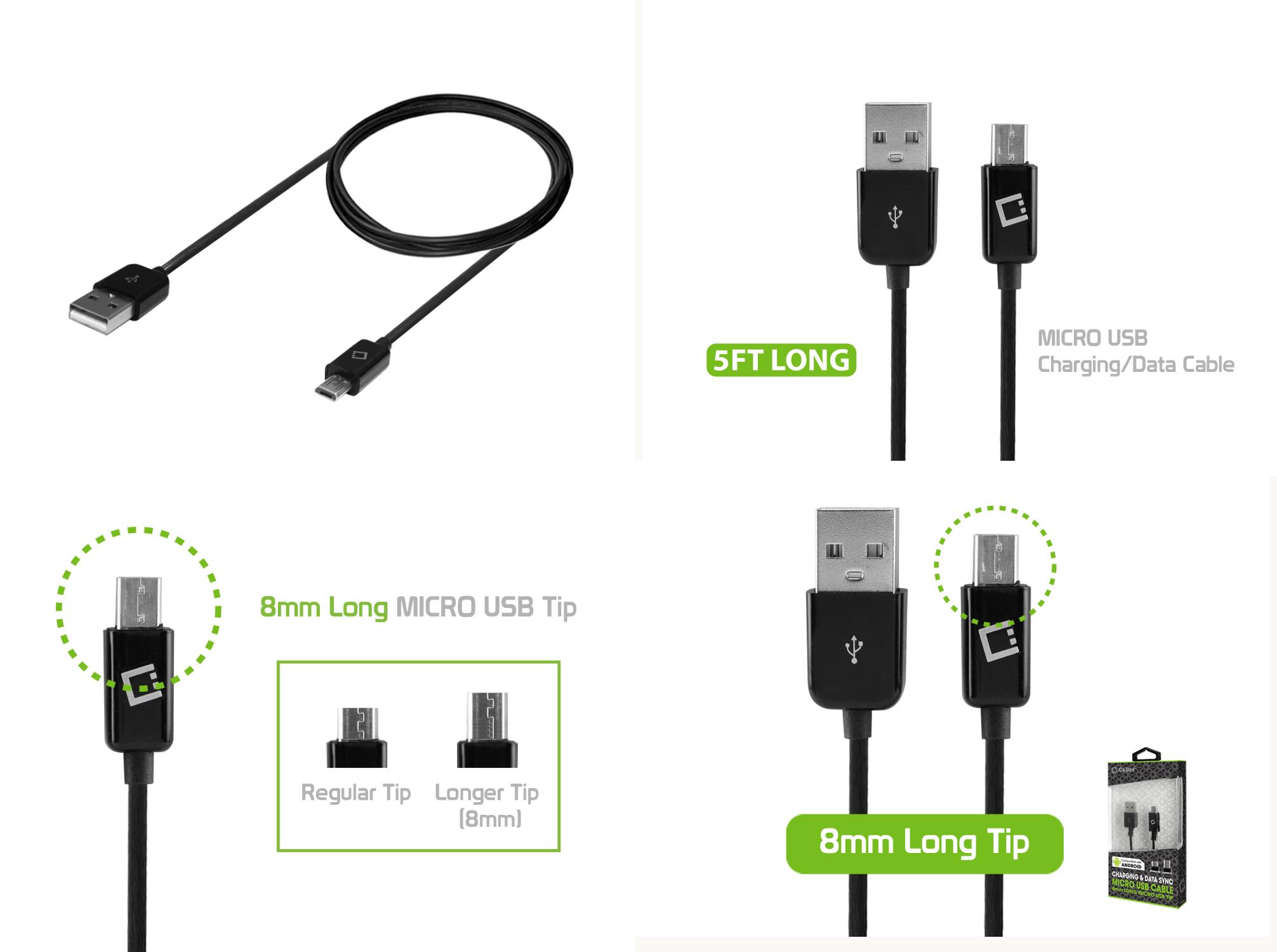 CABLE USB MICRO USB LONG 8mm